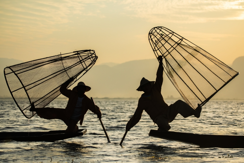 Old style fishing - Inle Lake, Myanmar