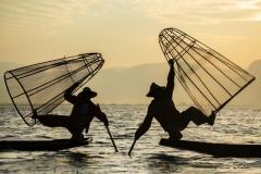 Old style fishing - Inle Lake, Myanmar